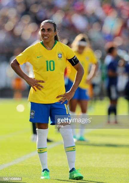 Marta of Brazil looks on in the second half against Japan during the 2018 Tournament of Nations at Pratt Whitney Stadium on July 29 2018 in East...