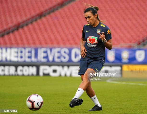 Marta of Brazil passing during the SheBelieves Cup training and media availability session at Raymond James Stadium on March 4 2019 in Tampa Florida...