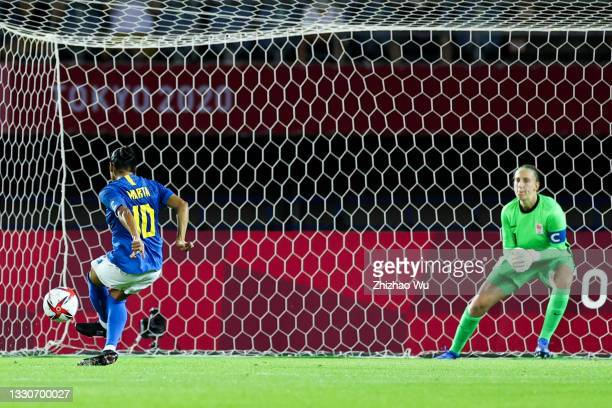 Marta of Brazil penalty shots during the Women's First Round Group F match on day one of the Tokyo 2020 Olympic Games at Miyagi Stadium on July 24,...