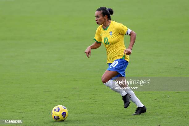 Marta of Brazil plays against the United States during the SheBelieves Cup at Exploria Stadium on February 21, 2021 in Orlando, Florida.