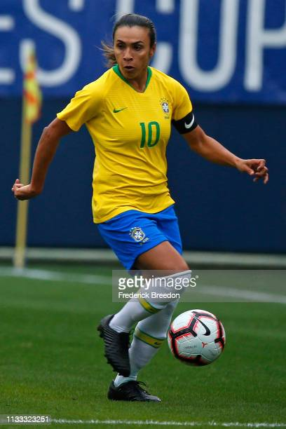 Marta of Brazil plays during the 2019 SheBelieves Cup match between Brazil and Japan at Nissan Stadium on March 2 2019 in Nashville Tennessee