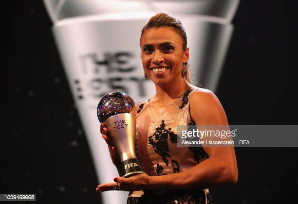 Marta of Brazil poses for a photo with her award during The Best FIFA Football Awards at Royal Festival Hall on September 24, 2018 in London, England.