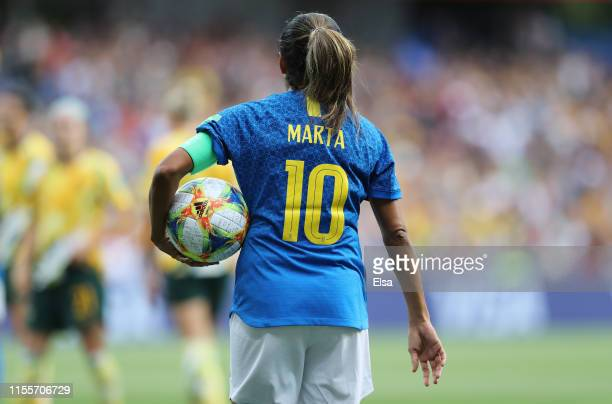 Marta of Brazil prepares to take a penalty kick during the 2019 FIFA Women's World Cup France group C match between Australia and Brazil at Stade de...