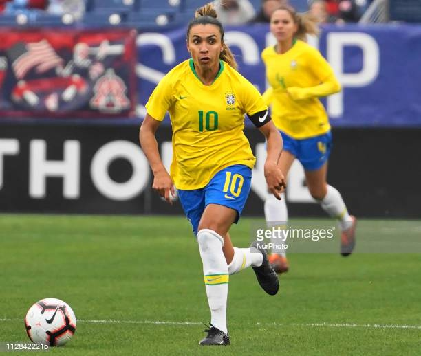 Marta of Brazil pushing the ball forward during the SheBelieves Cup match between Brazil and Japan at Nissan Stadium on March 1 2019 in Nashville...