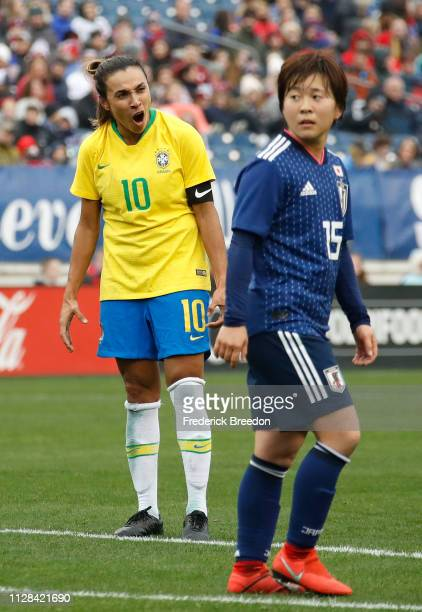 Marta of Brazil reacts after taking a shot on net against Japan during the second half during the 2019 SheBelieves Cup match between Brazil and Japan...
