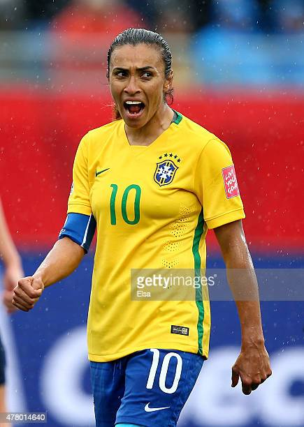 Marta of Brazil reacts in the second half against Australia during the FIFA Women's World Cup 2015 round of 16 match between Brazil and Australia at...