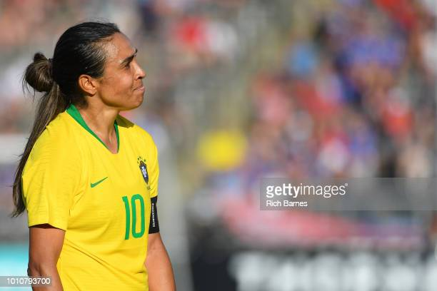 Marta of Brazil reacts to a yellow card given to teammate Raquel against Japan during the second half of a Tournament of Nations game played at Pratt...