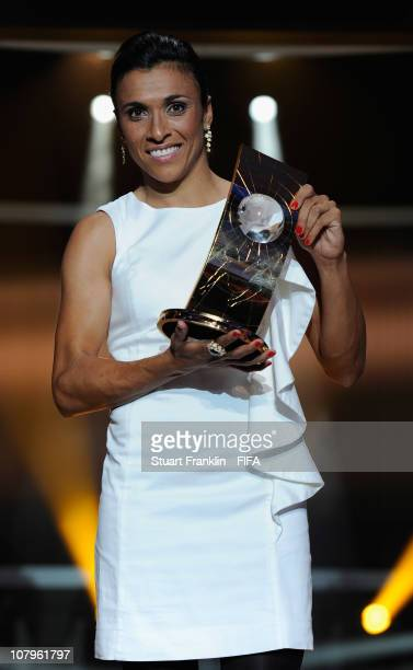 Marta of Brazil receives the FIFA womens player of the year award during the FIFA Ballon d'Or Gala 2010 t the congress hall on January 10 2011 in...