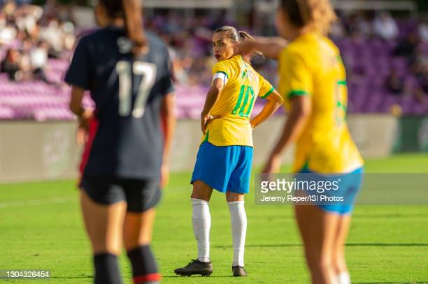 Marta of Brazil runs toward the midfield during a game between Brazil and USWNT at Exploria Stadium on February 21, 2021 in Orlando City, Florida.
