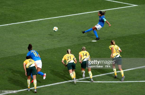 Marta of Brazil score's a penalty for her team's first goal during the 2019 FIFA Women's World Cup France group C match between Australia and Brazil...