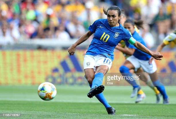 Marta of Brazil scores a penalty for her team's first goal during the 2019 FIFA Women's World Cup France group C match between Australia and Brazil...