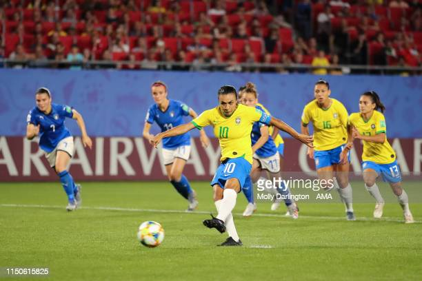 Marta of Brazil scores a penalty to make it 01 during the 2019 FIFA Women's World Cup France group C match between Italy and Brazil at Stade du...