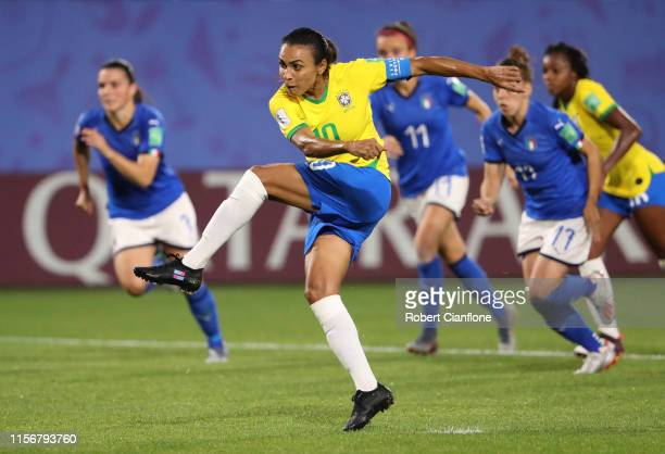 Marta of Brazil scores her team's first goal during the 2019 FIFA Women's World Cup France group C match between Italy and Brazil at Stade du Hainaut...