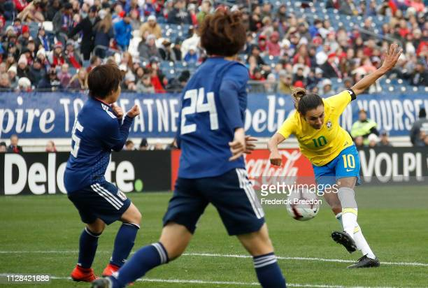 Marta of Brazil takes a shot on net against Japan during the second half during the 2019 SheBelieves Cup match between Brazil and Japan at Nissan...