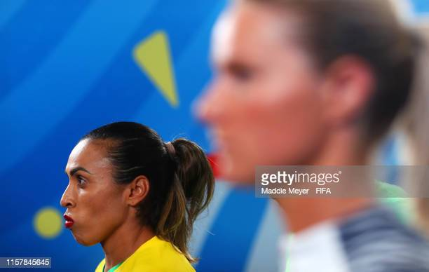 Marta of Brazil waits in the tunnel prior to the 2019 FIFA Women's World Cup France Round Of 16 match between France and Brazil at Stade Oceane on...