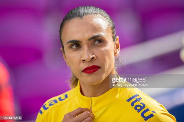 Marta of Brazil walks out of the tunnel before a game between Brazil and USWNT at Exploria Stadium on February 21, 2021 in Orlando City, Florida.