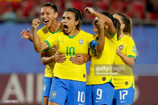 Marta of Brazil Women Debinha of Brazil Women Andressinha of Brazil Women celebrate 10 during the World Cup Women match between Italy v Brazil at the...