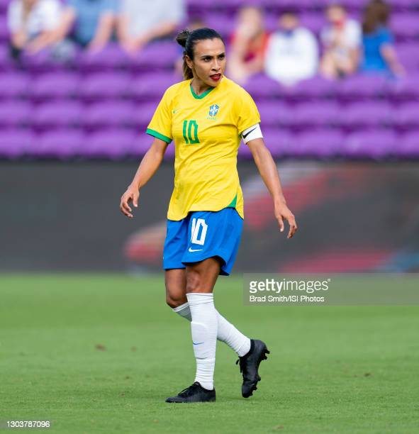 Marta of Brazil yells to her teammates during a game between Brazil and USWNT at Exploria Stadium on February 21, 2021 in Orlando, Florida.