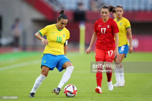 Marta of Team Brazil on the ball during the Women's Quarter Final match between Canada and Brazil on day seven of the Tokyo 2020 Olympic Games at...