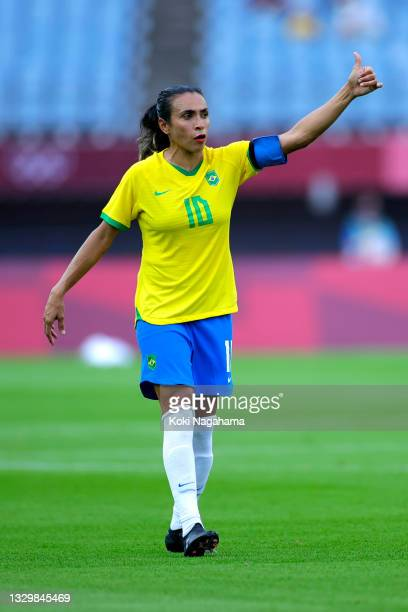 Marta of Team Brazil reacts during the Women's First Round Group F match between China and Brazil during the Tokyo 2020 Olympic Games at Miyagi...
