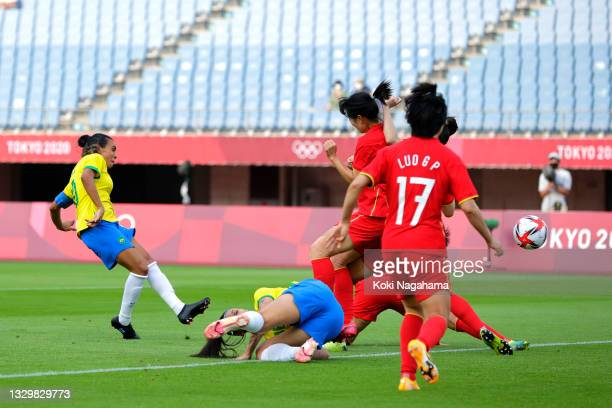 Marta of Team Brazil scores their side's first goal during the Women's First Round Group F match between China and Brazil during the Tokyo 2020...