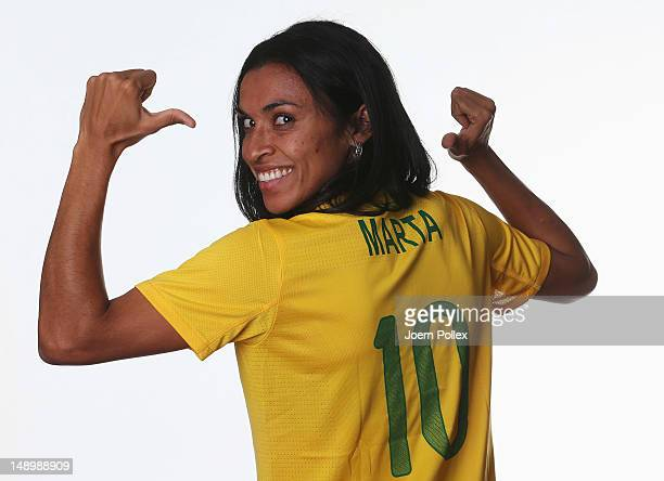 Marta of the Brazil Women's Olympic Football Team at the Marriot Hotel on July 21 2012 in Cardiff Wales