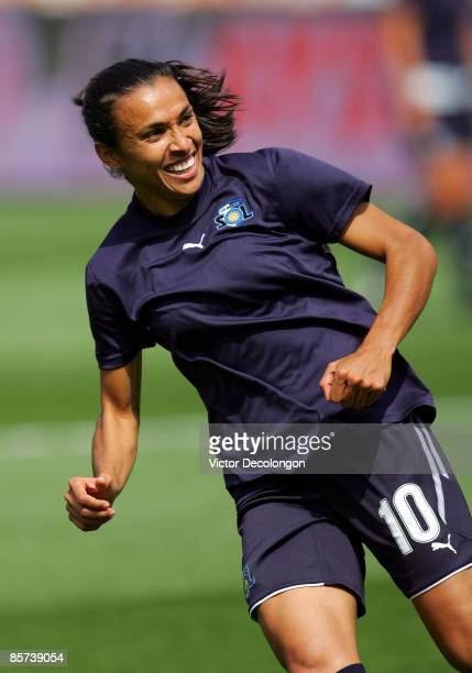 Marta of the Los Angeles Sol smiles during warmup prior to their inaugural WPS match against the Washington Freedom at The Home Depot Center on March...