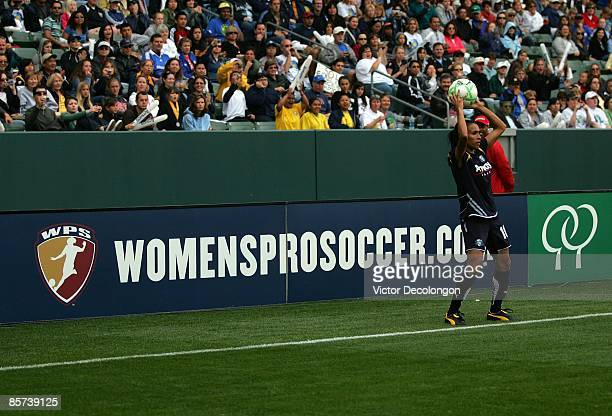 Marta of the Los Angeles Sol throws the ball into play in the second half during their inaugural WPS match at The Home Depot Center on March 29 2009...