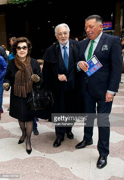 Marta Ornelas and Placido Domingo attend the wax figure of Placido Domingo presentation at Museo de Cera de Madrid on January 23 2016 in Madrid Spain