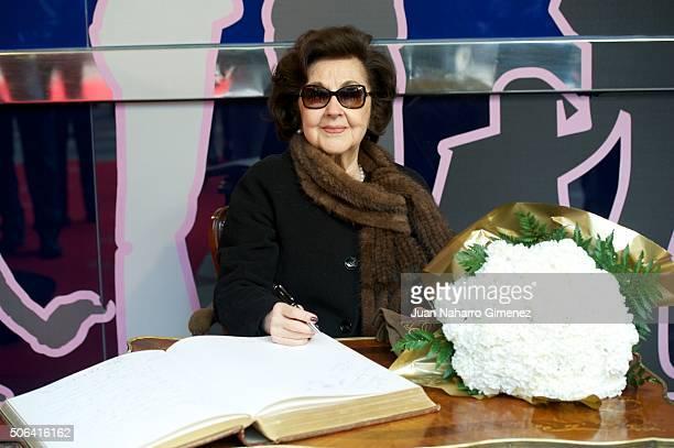 Marta Ornelas attends the wax figure of Placido Domingo presentation at Museo de Cera de Madrid on January 23 2016 in Madrid Spain