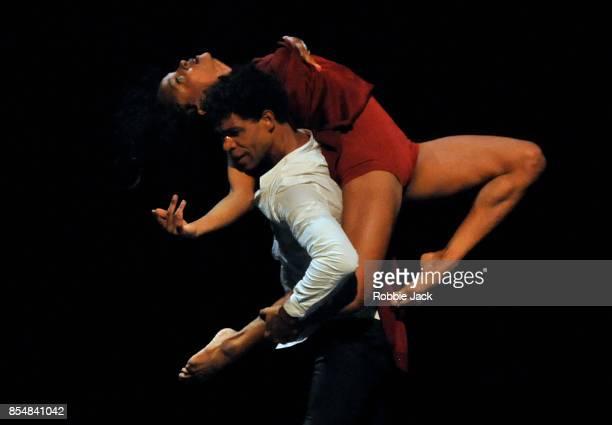 Marta Ortega and Carlos Acosta in Acosta Danza's production of Sidi Larbi Cherkaoui's Mermaid at Sadler's Wells Theatre on September 26 2017 in...