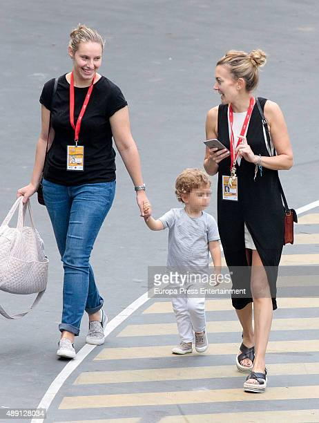 Part of this image has been pixellated to obscure the identity of the child Marta Ortega and her son Amancio Alvarez attend 2015 CSIO International...