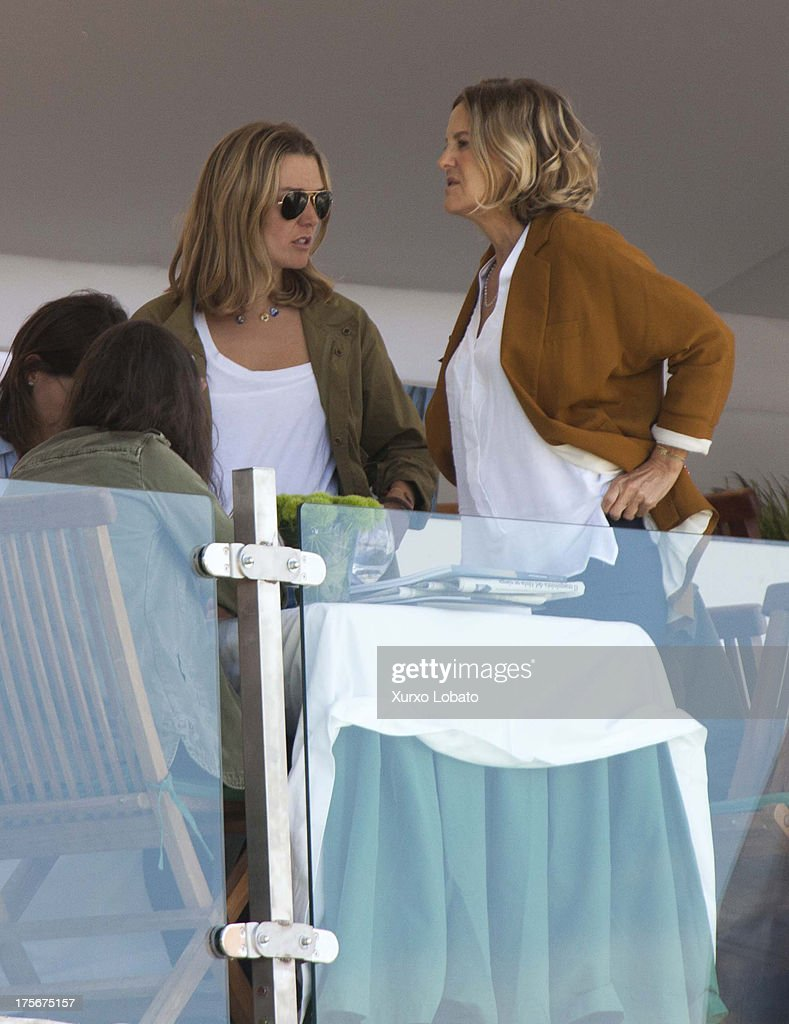Marta Ortega, daughter of Zara's owner Amancio Ortega, and Flor Perez Marcote, wofe of Zara's owner Amancio Ortega, attend CSI Casas Novas Horse Jumping Competition 2013 near Arteixo on July 27, 2013 in A Coruna, Spain.