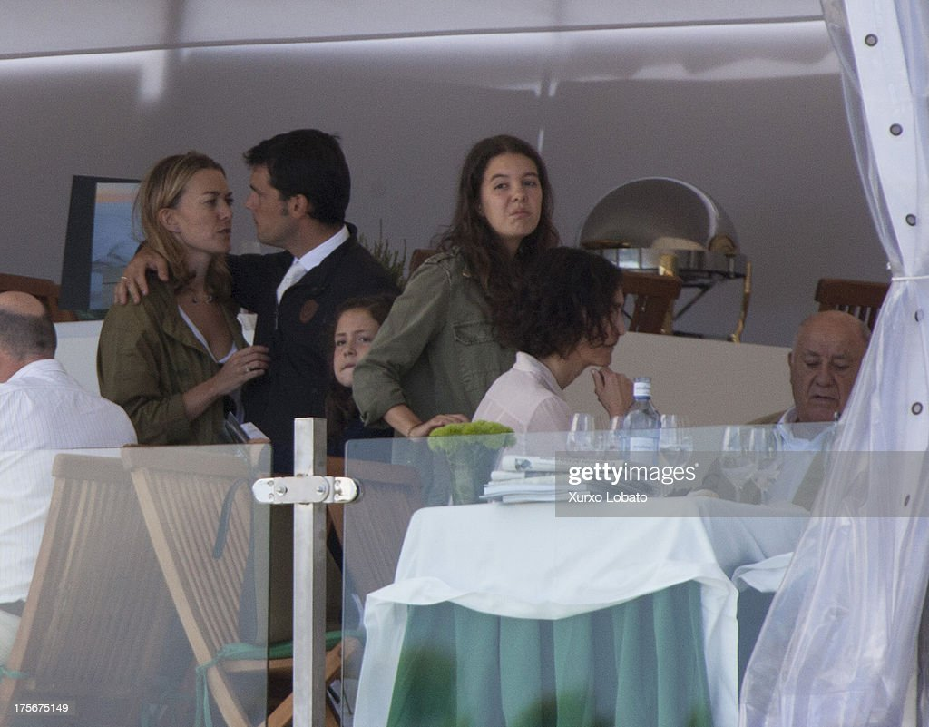 Marta Ortega, daughter of Zara's owner Amancio Ortega, and her husband Sergio Alvarez Moya attend CSI Casas Novas Horse Jumping Competition 2013 near Arteixo on July 27, 2013 in A Coruna, Spain.