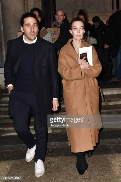 Marta Ortega Perez and Carlos Torretta are seen arriving at Valentino fashion show during Paris Fashion Week Haute Couture Spring Summer 2020 on...
