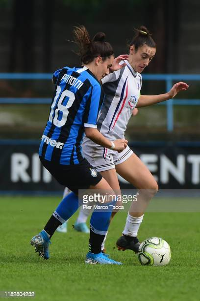 Marta Pandini of FC Internazionale Women competes for the ball with Luana Merli of Orobiche Women during the Women Serie A match between FC...
