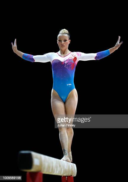Marta PihanKulesza of Poland competes on the balance beam during Rotation 3 of the Team Women event qualification subdivision 2 during the Team Women...
