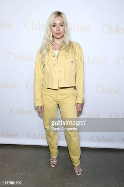 Marta Pozzan arrives at Flaunt And Chloé Celebrate A Change Of Seasons with Charli XCX at The Jeremy Hotel on April 17 2019 in West Hollywood...