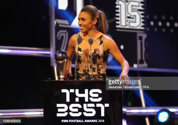 Marta receives The Best FIFA Women's Player Award during The Best FIFA Football Awards at Royal Festival Hall on September 24 2018 in London England