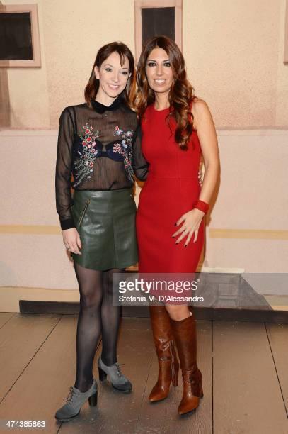 Marta Romagna and Lavinia Biagiotti attend the Laura Biagiotti show as part of Milan Fashion Week Womenswear Autumn/Winter 2014 on February 23 2014...