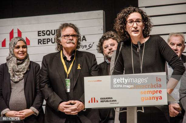 Marta Rovira and her electoral team seen on stage during the election night of the 21D Two hours after the polling stations closed and with the total...