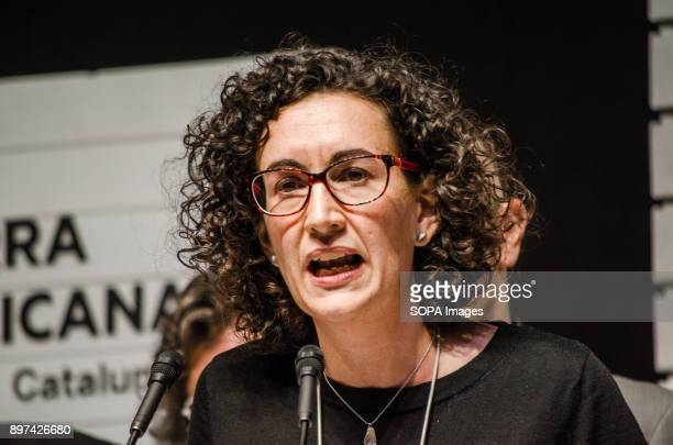 Marta Rovira seen on stage during the election night of the 21D Two hours after the polling stations closed and with the total of the votes counted...