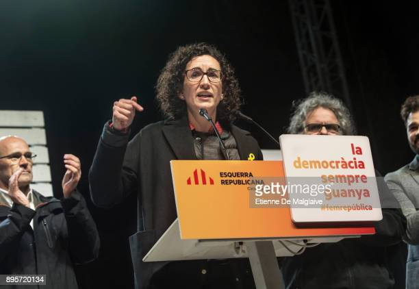 Marta Rovira the No 2 candidate for the leftwing independentist Esquerra Republicana party in Catalonia addresses a crowd of supporters at the last...