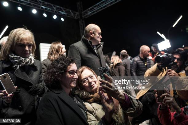 Marta Rovira the No 2 candidate for the leftwing independentist Esquerra Republicana party in Catalonia poses for selfies with supporters at the end...