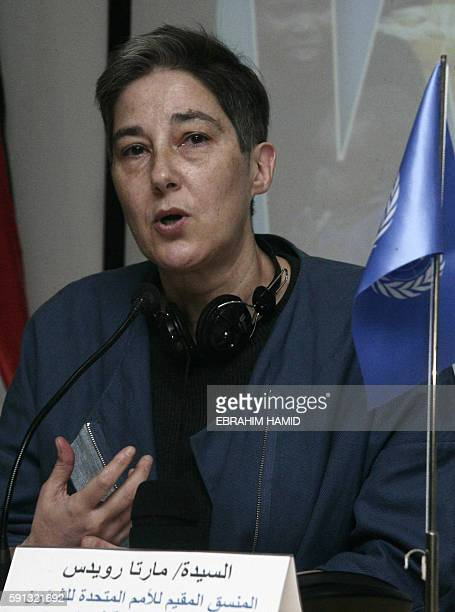 Marta Ruedas the UN resident and humanitarian coordinator for Sudan speaks at a press conference marking World Humanitarian Day in Khartoum on August...