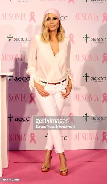 Marta Sanchez attends the presentation of Ausonia and AECC Against Breast Cancer campaign 'Juntas somos mas fuertes' on October 17 2017 in Madrid...