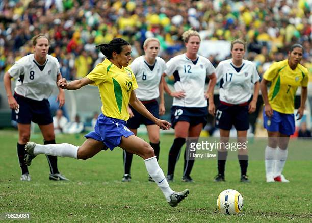 Marta Silva of Brazil kicks a penalty to score during the Women's Gold Medal Match against the United States of America during the 2007 XV Pan...