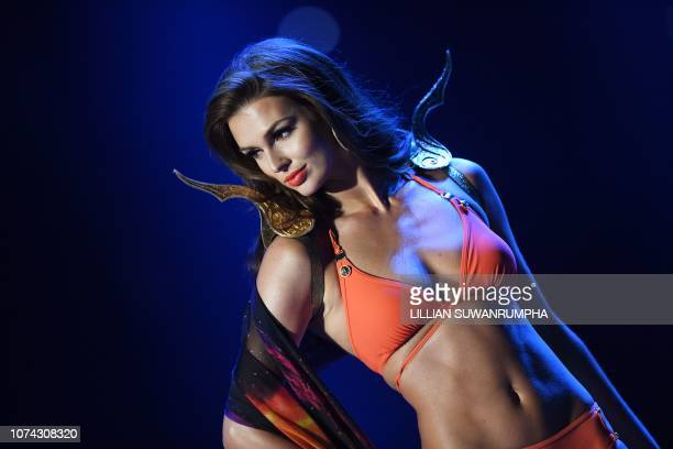 Marta Stepien of Canada competes in swimsuit during the 2018 Miss Universe Pageant in Bangkok on December 17 2018 Miss Philippines was crowned Miss...
