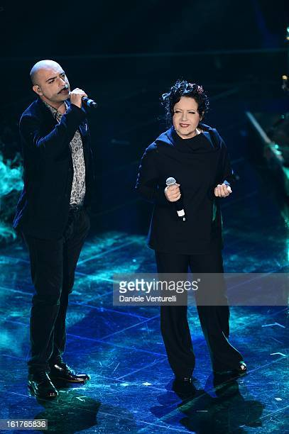 Marta sui Tubi and Antonella Ruggiero attend the fourth night of the 63rd Sanremo Song Festival at the Ariston Theatre on February 15 2013 in Sanremo...