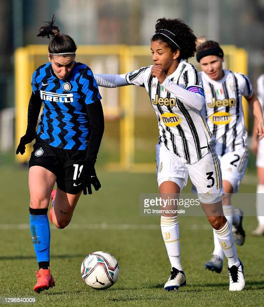 Marta Teresa Pandini of FC Internazionale challenges for the ball with Sara Gama of Juventus Women during the Women Serie A match between FC...